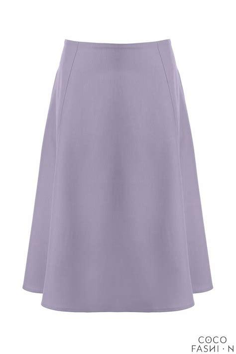 light blue side pockets flared midi skirt