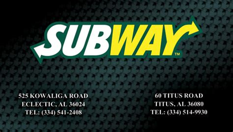 Subway Business Cards for Restaurant in Alabama