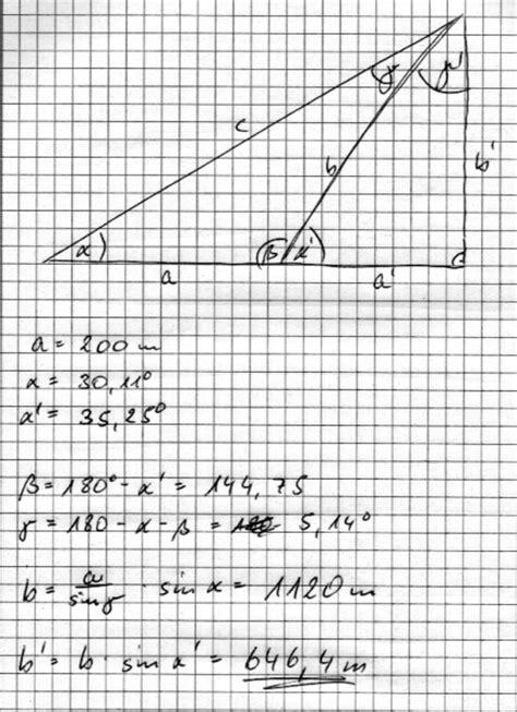 wann benutze ich sinus cosinus und tangens sinus cosinus und tangens wie berechnet die h 246 he
