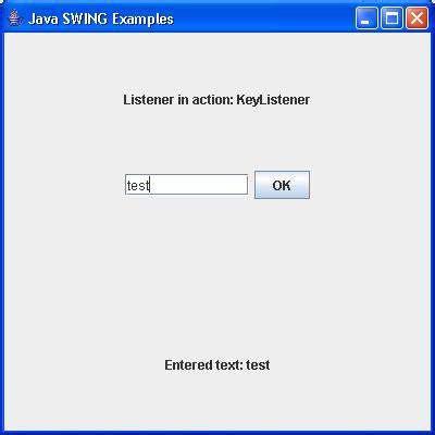 keyboard listener tutorial swing keylistener interface