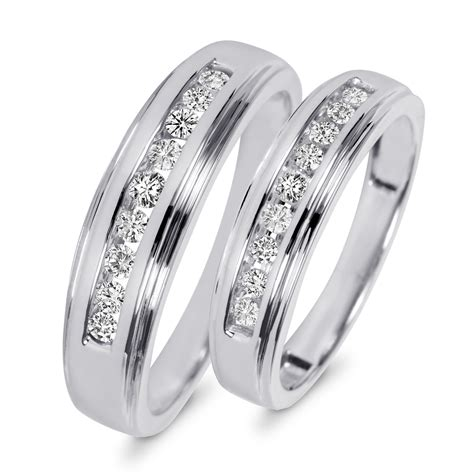 his and hers wedding bands 3 8 carat t w his and hers wedding band set 10k white gold my trio rings wb501w10k