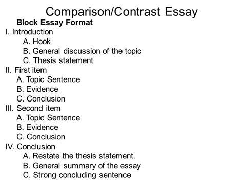 Contrast Comparison Essay Outline by Compare And Contrast Essay Outline Writing Portfolio