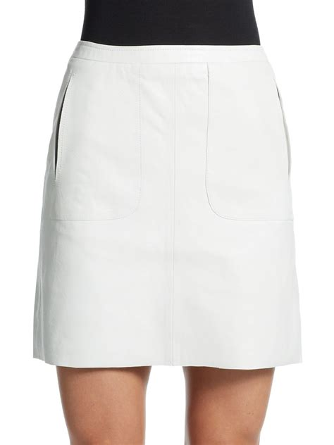 connection eddy leather mini skirt in white summer