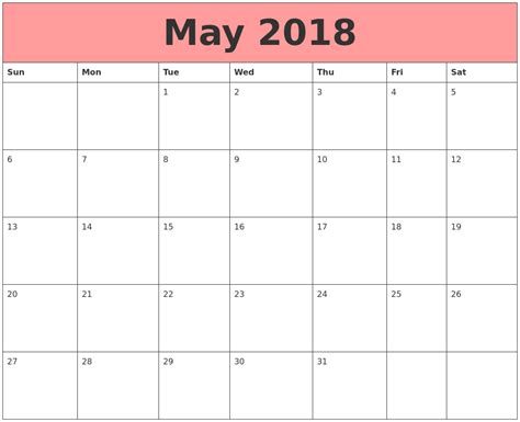 printable calendar for may 2018 may 2018 calendars that work