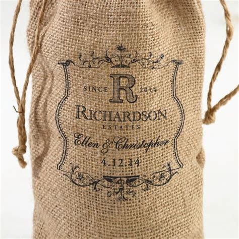 Personalized Burlap Wine Bottle Bag