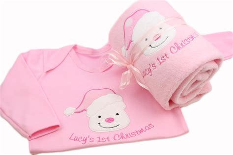 personalised baby girl first 1st christmas blanket