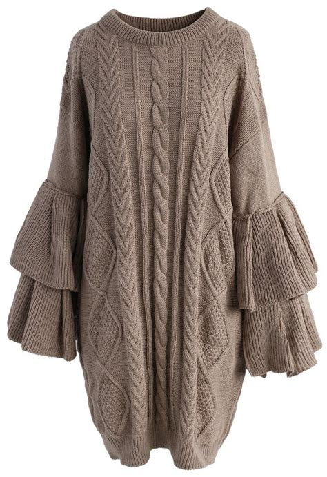 Sleeve Cable Knit Dress cable knit sweater dress with tiered flare sleeves dress
