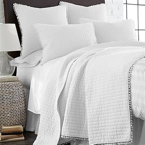 levtex home pom pom reversible quilt  white bed bath