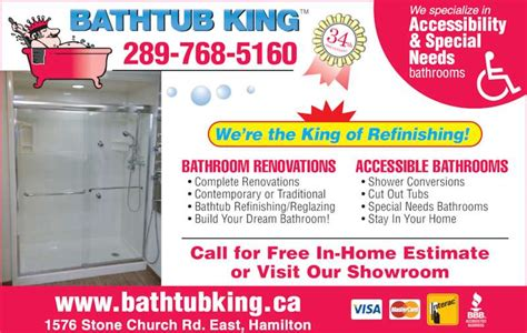 bathtub king refinishing bathtub king refinishing hamilton on 1576 stone church rd e canpages
