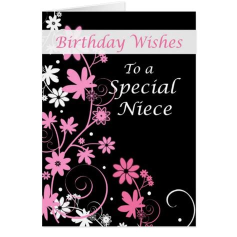 printable birthday cards niece 4084 niece birthday wishes pink and black greeting card