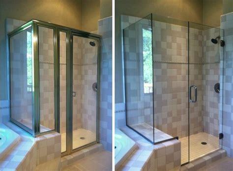 Frameless Shower Doors Vs Framed Before And After Framed Vs Frameless Shower Doors
