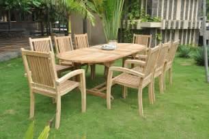 Teak Patio Furniture Clearance clearance 8 seater teak garden set oval honolulu