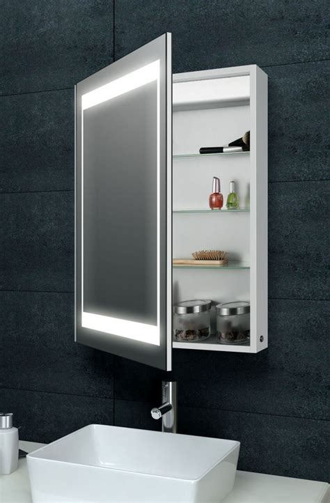 bathroom illuminated mirror cabinet laura aluminium backlit mirrored bathroom cabinet