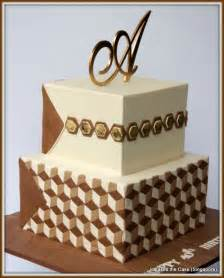 geometric 40th birthday cake for a male hotel developer cakecentral com