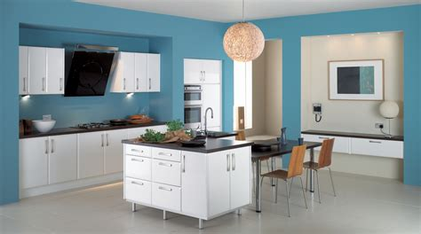 Modern Kitchen Colors | modern kitchen with blue color dands