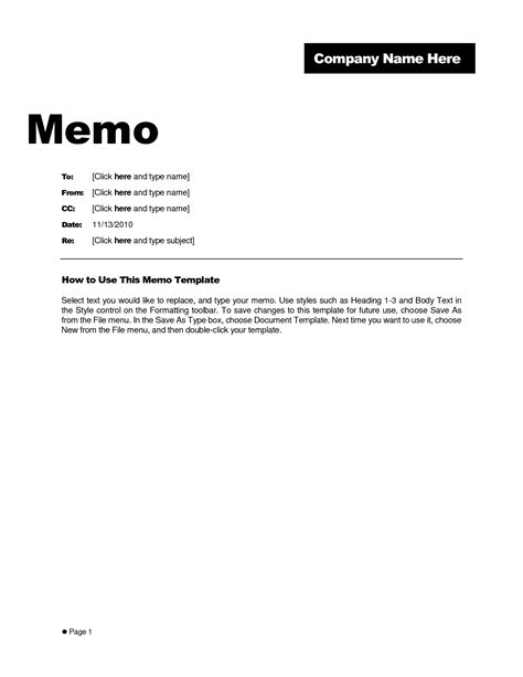 template memo template for word