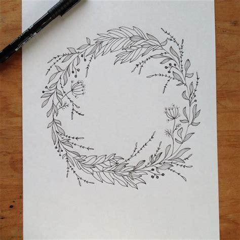 sketch pen pattern wreath drawing pen ink maijarebecca com wedding