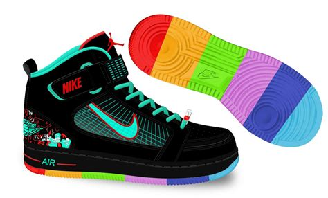 rainbow nike sneakers nike air 6 rings balck green rainbow colors