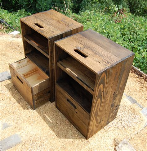 Wooden Crate Nightstand Wooden Crates Nightstands Side Tables Drawer Reclaim Wood Set Of Two