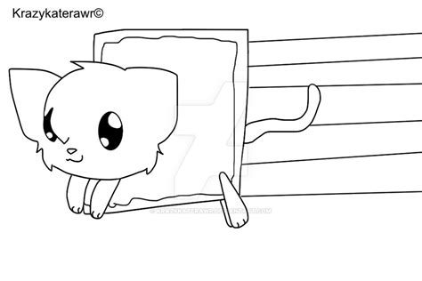 chibi cat coloring page chibi nyan cat lineart by krazykaterawr on deviantart