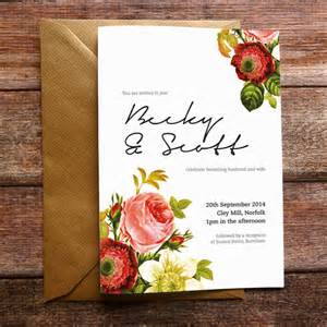 vintage floral wedding invitation and stationery by russet and gray notonthehighstreet