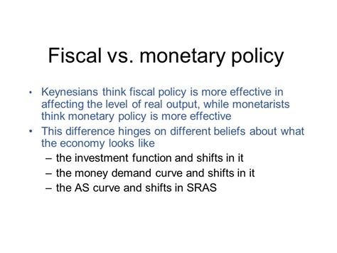 monetary policy vs fiscal policy macroeconomic policy debates ppt