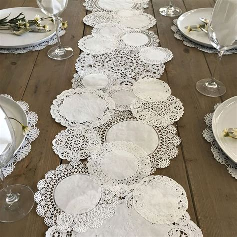 Paper Table Decorations To Make - prettie table runner shabby rustic paper doilies diy
