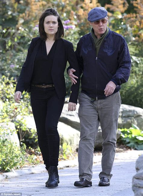 james spader on ellen james spader and megan boone on set of the blacklist