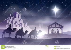 Scene with baby jesus in the manger in silhouette three wise men
