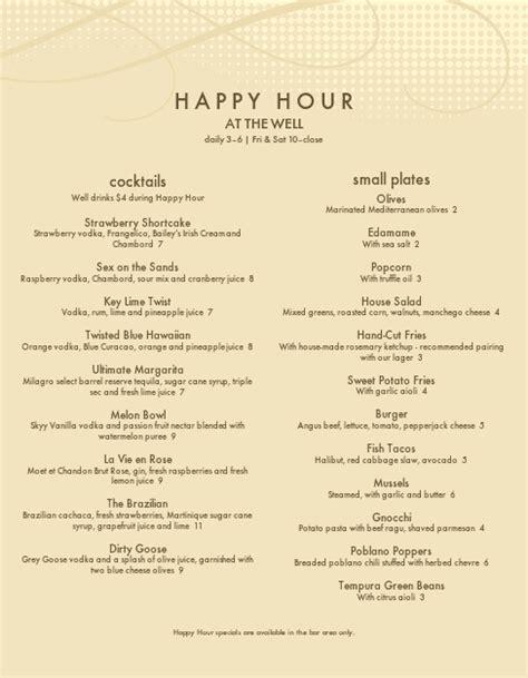 Happy Hour Menu Template