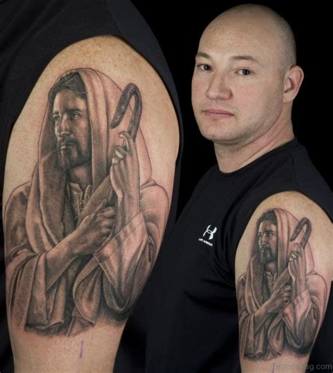 jesus portrait tattoo 61 classic jesus tattoos on shoulder