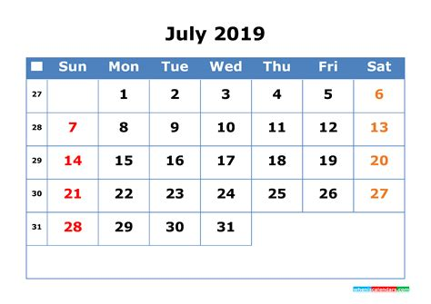 printable calendar  july  week number  printable  calendar  holidays
