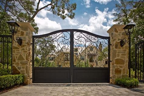 different gate design american styled home ideas with post and iron entrance gate designs using stylish