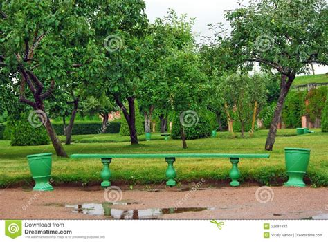 the green bench green wooden bench in the garden stock photography image 22681832