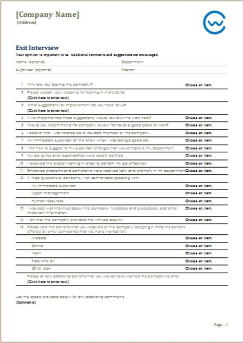 job leave exit interview form template ms word word
