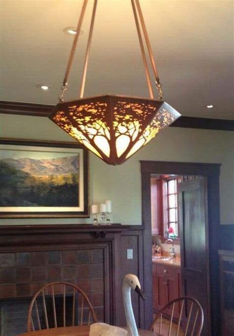 Craftsman Lighting Dining Room Arts Crafts Craftsman Copper A Mattson Coppercraft Chandelier Graces The Dining