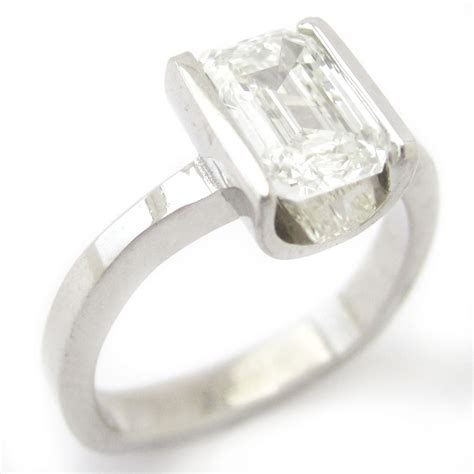 Tension Engagement Rings by 1 50ct Emerald Cut Solitaire Semi Tension