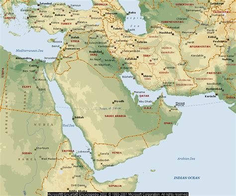 middle east map bodies of water notes on continents