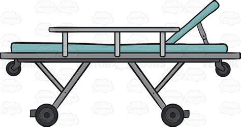 ambulance bed side view of a stretcher used in an ambulance cartoon clipart vector toons