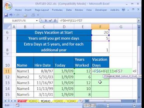 excel magic trick 202 calculate vacation days
