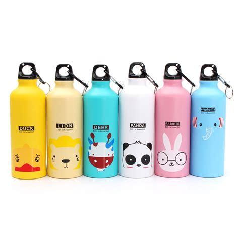 Botol Minum 500ml By Miniso botol minum kartun 500ml dengan karabiner pink