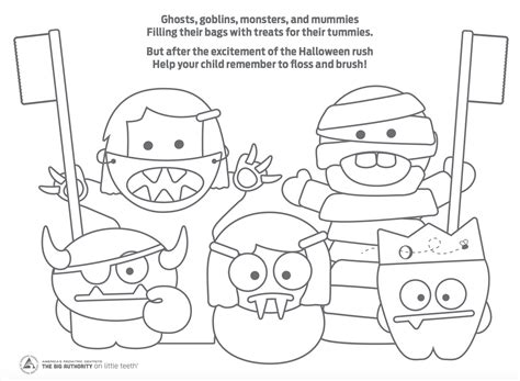 Halloween Dental Coloring Page | how to make halloween less scary for your kids teeth