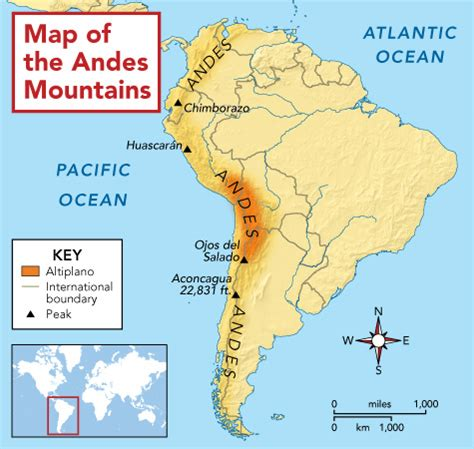 andes mountains map andes mountains