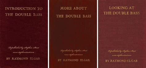 introduction to the bass books raymond elgar s books on bass republished