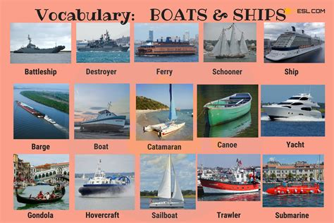 types of boats names transportation vocabulary in english vehicle names 7 e s l