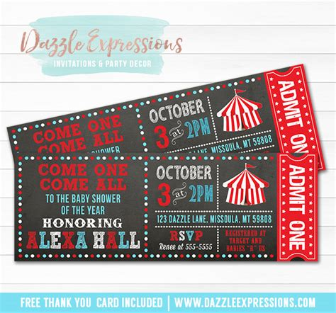 Ticket Baby Shower Invitations by Printable Chalkboard Circus Ticket Baby Shower Invitation