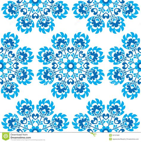 art pattern repetitive seamless blue floral polish folk art pattern wzory