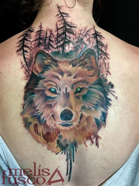 gray wash tattoo designs wolf with gray wash gradient trees by fusco