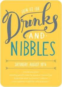 drinks and nibbles corporate event invitations in baltic or mustard alma fonts