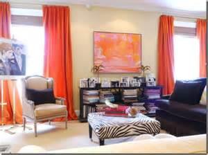 burgundy aqua cream coral room interior bright orange curtains with pink amp orange artwork in a